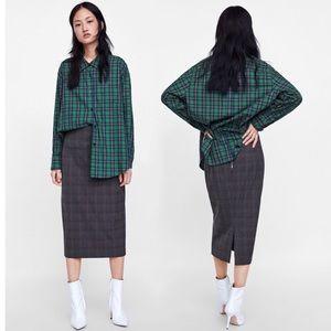 Zara Woman Check Pencil Skirt